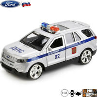 Diecast Car Scale 1:36 Ford Explorer Crossover SUV Russian Police Model Toy Cars