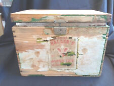 ANT TIN LINED TEA SHIPPING WOODEN BOX CRATE HALLER'S JAPAN TEA 10# INTERIOR FILM