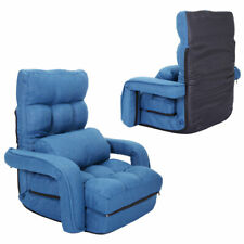 Adjustable Folding Lazy Sofa Floor Chair Sofa Lounger Bed w/ Armrests & Pillow