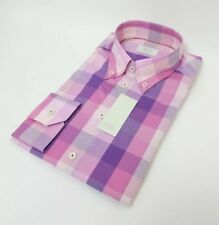 Eton Mens Slim Shirt Pink Purple White Gingham Check Oxford Collar 16 - 41
