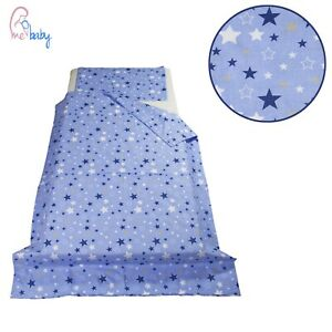 Boys 4 pcs Cot Bed Bedding Set / Duvet - Blue Galaxy Stars - covers + fillings