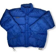 Columbia Mens Size XL Blue Puffer Down Coat With Drawstring