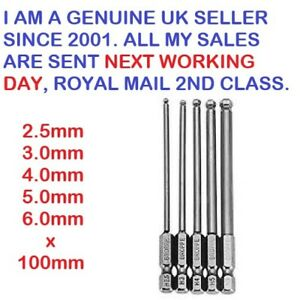 5 X1/4 Shank 100mm Magnetic Ball End Hex Screwdriver Bits 2.5_3.0_4.0_5.0_6.0.mm