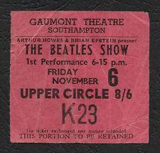 Beatles original rare concert ticket, Southampton UK 1964 Tour, Paul McCartney
