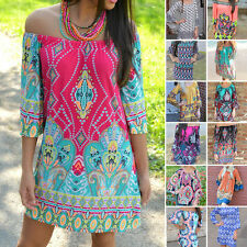 2016 Printed Boho Dress Bohemian Maxi Women Summer Beach Dress Tunic Plus Size