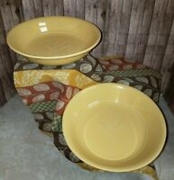 Dansk for Pottery Barn Pasta Bowls Wheat Pattern in  Yellow/ Gold  Set of 2