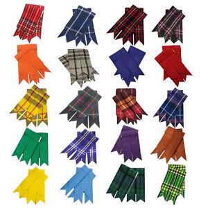 New Scottish Kilt Hose Socks Flashes Various Tartans Acrylic Wool Garter pointed