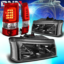 For 03-07 Silverado Black+Clear Corner Headlight+Chrome Red 3D Led Tail Lamp Set
