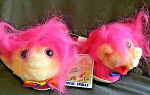 Vintage 1992 TROLIO TROLL BABY SLIPPERS PINK with PINK HAIR  New Tags