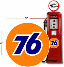 """(UNIO-1) 3"""" UNION 76 GASOLINE GAS PUMP OIL TANK DECAL by Unocal LUBSTER"""