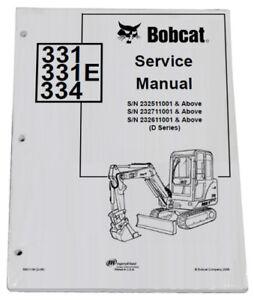 Bobcat 331, 334 Compact Excavator Service Manual Shop Repair Book 4 PN# 6901139