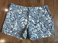 Women's PATAGONIA Khaki Shorts Blue Ivory Tropical Leaves Organic Cotton Sz 10