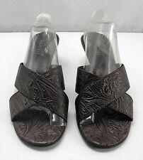 Franco Sarto Brown Western Embossed Leather Slides Kitten Heels - Women's 7.5M