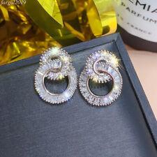 18K Gold Plated CZ Geometric Circle Drop Dangle Earrings for Women Jewelry Gifts