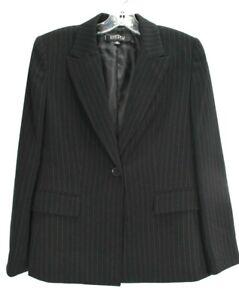 Kasper Petite Womens Black Peak Lapel Flap Pocket Chalk Stripes Suit Blazer S