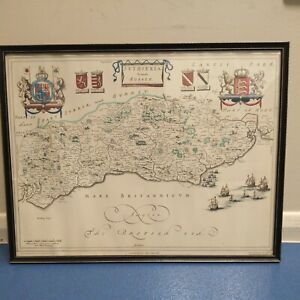 Map Of Sussex Vintage Johan Blaeu Printed By J.Bartholomew & Sons