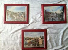 Pre-owned 3 Linda Nelson Stocks Red Wood Framed Lithograph 1995 Calendar Prints