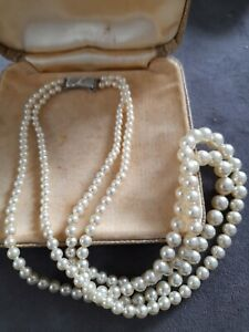 VINTAGE PEARL NECKLACE..2- STRAND  .STAMPED 925! FOR STERLING SILVER...STYLISH
