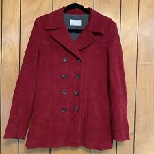 Equestrian Designs Maroon Corduroy Double Breasted Pea Coat Small Fleece Lined