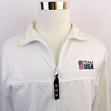 Vtg Team USA White Track Jacket Full Zip Adult Size Large US Olympic Committee