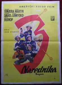 1962 Original Movie Poster Sargeants 3 John Sturges Frank Sinatra Dean Martin