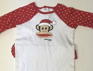 Paul Frank  Baby Pajamas White w/Red Hearts One-Piece Small Paul Sz 9Mos