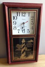 CAPE HATTERAS LIGHTHOUSE PAINTED GLASS WALL CLOCK, HANOVER QUARTZ, HATTERAS, NC