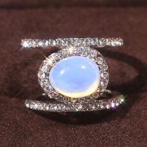 Elegant 925 Silver Women Rings Moonstone White Sapphire Ring Jewelry Size 5-10