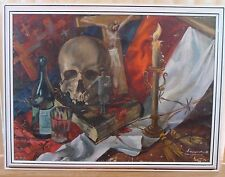 """1990 SIGNED OIL on CANVAS PICTURE """"STALINIZM"""" ( bloody Stalin's leadership)"""