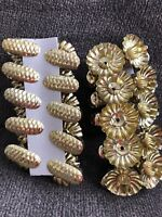 20 Vintage Style Christmas Tree Clip-On Candle Holders Pine Cone Gold Tone Metal