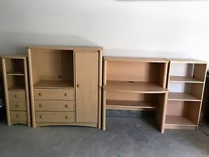 children bedroom 4 piece dresser, desk and hutch