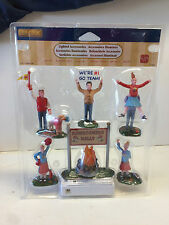 LEMAX SPOOKY TOWN FALL  lighted BONFIRE SET Cheerleaders Village New Homecoming