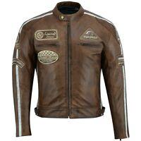 Retro Motorrad Leder Jacke,Biker Chopper Vintag Leder Jacke Herren MotorradJacke