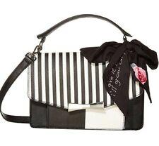 Betsey Johnson Black/White stripe with scarf  Crossbody  Handbag Purse