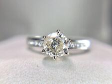 14k White Gold Designer Round Brilliant Natural Diamond Engagement Ring 1 ct