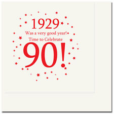 Happy 90th Birthday Age 90 1929 Party Supplies LUNCH DINNER NAPKINS