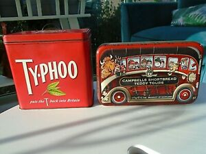 Vintage Typhoo Tea Caddy & Campbells Shortbread Teddy Tours Coach Tin Decorative