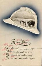 Carte Bonne Année Vue illustrée sur un casque Léger relief