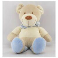 Doudou ours beige blanc rayé bleu POMMETTE - Ours Classique