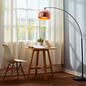 Mid-Century Mod Arc Curved Floor Lamp, Copper Rose Gold Shade, Black Marble Base