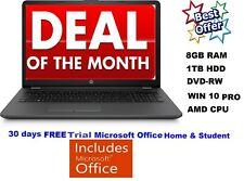 "NEW 15.6"" HP 255 G6 HD Laptop AMD A6-9225, 8GB RAM, 1TB,DVD-RW,Windows 10 Pro"