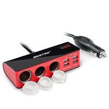 Bestek 3 Way Car Cigarette Lighter Socket Splitter 4 USB Charger Power Adapter