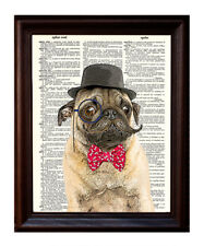Sir Pug Mustachio - Dictionary Art Print Printed On Authentic Vintage Dictionary