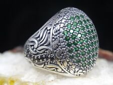 Turkish 925 S. Silver green emerald stone Mens Ring Sz 10.5 us  Free Resize #767