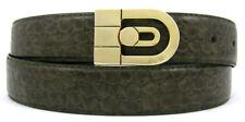 New Mens Olive Green Baby Alligator Print Genuine Leather Classic Fashion Belt