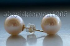 luster Genuine Natural 10mm Perfect Round White pearl Earrings 14Kt #f1906!