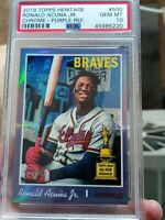 2019 TOPPS HERITAGE RONALD ACUNA JR. CHROME PURPLE REFRACTOR 500 PSA 10 GEM MINT