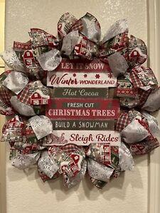 "FARMHOUSE CHRISTMAS ⛄ WREATH 22"" X 22"" Burlap DECO MESH Rustic SENTIMENT SIGN"