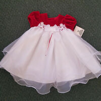 Rare Editions Baby Girls 24 Mos Red Velvet White Sheered Tiered Holiday Dress