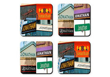 Personalized Coasters featuring the name JONATHAN in photos of signs - Set of 4